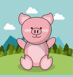 cute piglet adorable landscape natural vector image