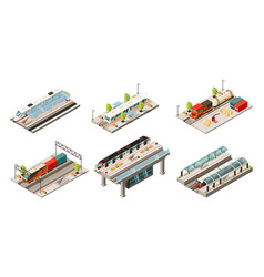 isometric modern railway transport collection vector image