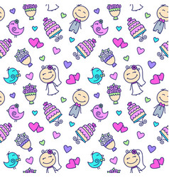 wedding cartoon seamless pattern vector image