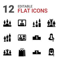 12 podium icons vector