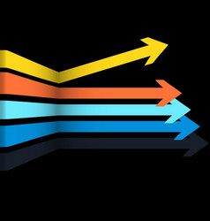 3d multicoloured arrows over black background vector