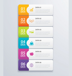 6 infographic tab index banner design vector