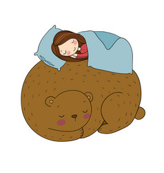 a sleeping girl and a bear good fairy tale vector image