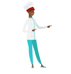 African-american chef cook pointing to the side vector