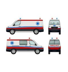 ambulance service cars various views ambulance vector image