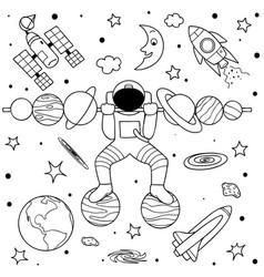 Astronaut do weight lifting vector