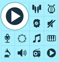 Audio icons set collection of phonograph octave vector