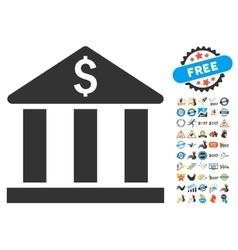 Bank Building Icon With 2017 Year Bonus Symbols vector image