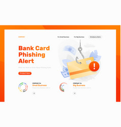 Bank card phishing alert design template vector