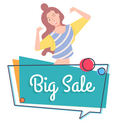 big sale cheerful woman shopaholic lady smiling vector image