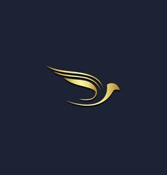 bird dove fly gold logo vector image