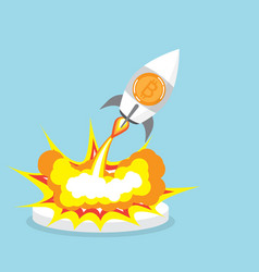 Bitcoin rocket launcher cryptocurrency concept vector