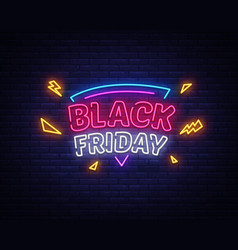 black friday sale neon sign friday vector image