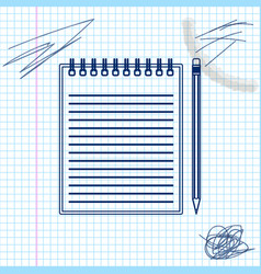 blank notebook and pencil with eraser line sketch vector image