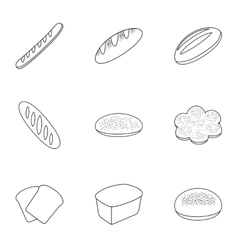 Bread set icons in outline style big collection vector