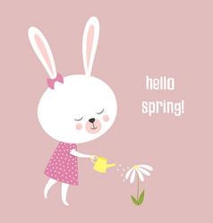 bunny hello spring vector image