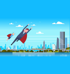 business man and woman wearing red cape flying vector image