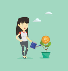 Business woman watering money flower vector