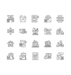 calculation line icons signs set outline vector image