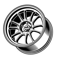 car wheels rims line art silhouette vector image