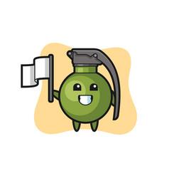 Cartoon character grenade holding a flag vector