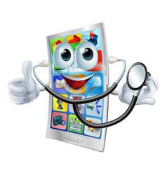 Cartoon phone holding a stethoscope vector