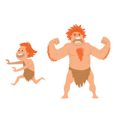 Caveman primitive stone age cartoon neanderthal vector