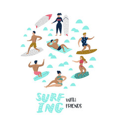 characters people surfing at beach vector image