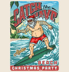 Christmas beach party vintage colorful poster vector