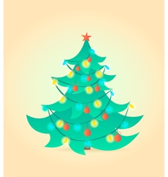 Christmas tree cartoon style vector