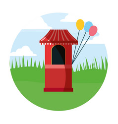 circus booth with balloons in field carnival vector image