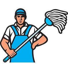 Cleaner with a Mop vector image
