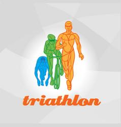 Color flat logo triathlon figures vector
