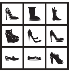 Concept flat icons in black and white women shoes vector