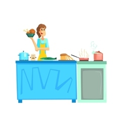 Cooking Contest Female Participant vector image