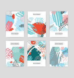 Creative cards with abstract pattern hand drawn vector