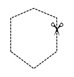 cut scissor frame lines figure vector image