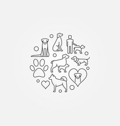 cute round with dog icons vector image