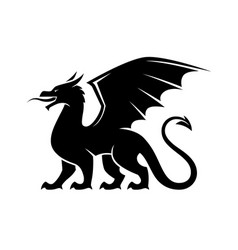 dragon black silhouette vector image