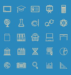 education line color icons on blue background vector image