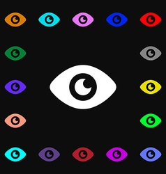 Eye Publish content icon sign Lots of colorful vector