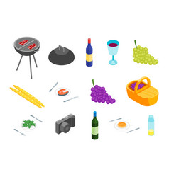 Family picnic with bbq icons isometric view vector
