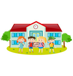 four kids at school ground vector image