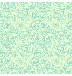 Green hand-drawn pattern waves background vector