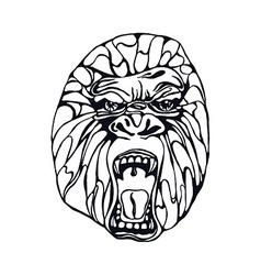 Growling gorilla tattoo vector