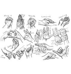 Handdrawn line art gestures in vintage comic style vector