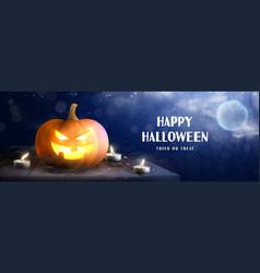 Happy halloween horizontal banner vector