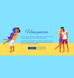 Honeymoon web banner with lovely hugging couples vector