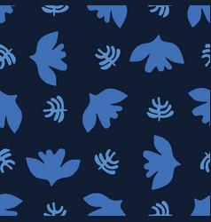 Indigo blue graphic paper cut birds seamless vector
