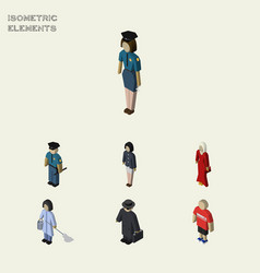 Isometric person set of officer female guy and vector